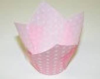 Tall Light Pink Tulip Folded Cupcake Liners or Baking Cups (24)