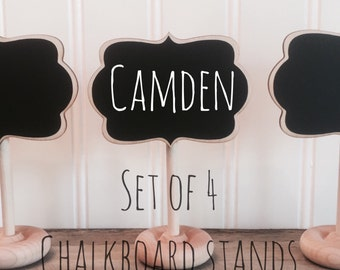 4 Mini Chalkboard Table Stands, CAMDEN Style- Chalkboard Signs, Buffet Labels, Farmers Market Signage, Place Settings, Table Numbers