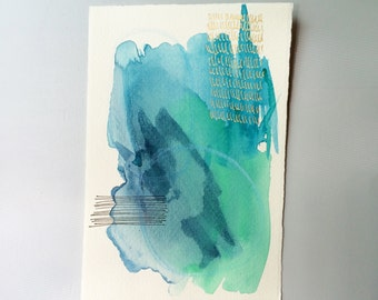 Painting : Green // Blue // Teal // small original abstract watercolor painting // daily doodle // tiny art // artwork //