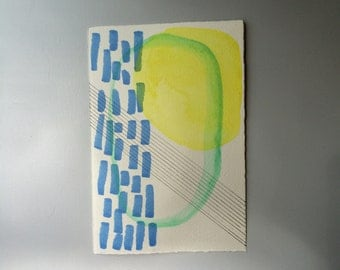 Painting : Yellow // Blue // Black // Geometric // small original abstract watercolor painting // daily doodle // tiny art // artwork //
