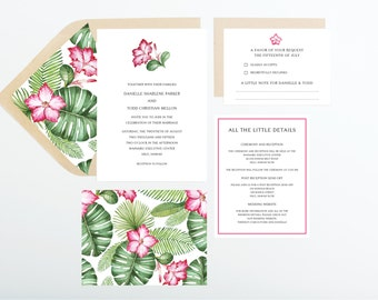 Hibiscus Tropical Destination Wedding Invitation Collection, Pink and Green, Wedding Announcement, Save The Date, Bridal Shower