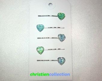Heart Hair Pins, Bobby Pins, Sparkley Heart Hair Pins, Teen Accessories, Toddler Hair Pin, Flower Girl Hair Pins, Bridal Hair Accessories