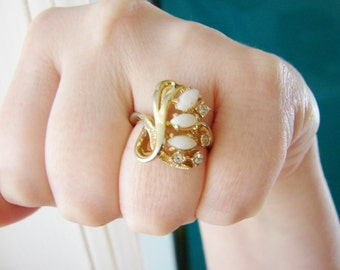 Vintage 14 KT GE ESPO gold, opal and crystal ring- size 7