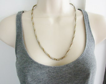 SALE- Vintage twisted gold  and silver chain necklace