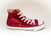 Sequin Starlight Customized Red Customized Converse Canvas Hi Top Sneakers Shoes