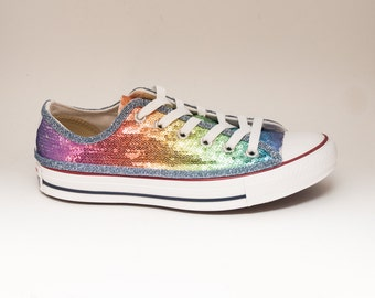 Sequin | Rainbow Multi-Colored Custom Canvas Converse Sneakers Shoes
