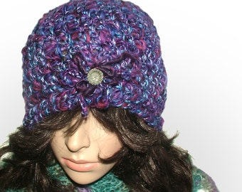Chunky Crochet Beanie Hat in multi-color purple tones