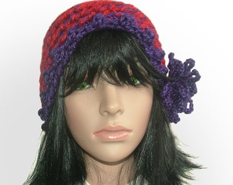 Red Purple Chunky Crochet Beanie Hat with purple crochet flower