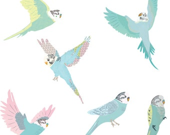 Fabric Wall Decal - Budgies (reusable) NO PVC