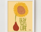 Typographic Print, Motivational Quote, Sunflower Poster, Sunflower Illustration, Typography Poster, Sunflower Poster, Motivational Quote
