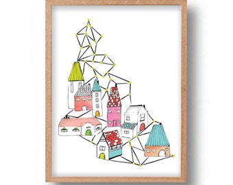 Geometric Art Print Digital Illustration Scandinavian Town Digital Art Print Geometric Abstract Art Print Scandinavian Village Illustration