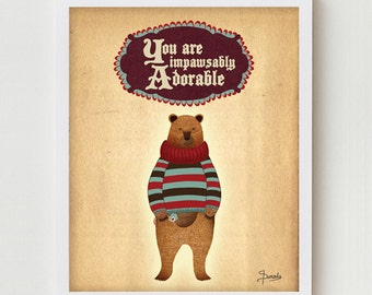 Indie Art Digital Print, Cute Adorable Digital Art Indie Poster, Sweater Teddy Bear Print, Indie Teddy Bear Artwork, Digital Illustration