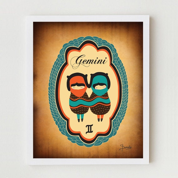 "Gemini Zodiac Sign Drawing Art Print, Astrological Illustration of ""GEMINI"" 8x10 Modern Artwork, Gemini Constellation / Horoscope Poster,"