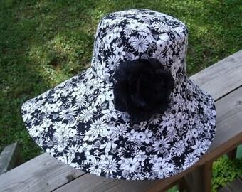 SUN HAT Floppy Super Wide Brim Hat OOAK Black & White Summer Beach Print Sun Hat Foldable