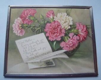 Dear Mother Poem - Vintage 1940s Framed Poem for Mother 10 x 8 Inches