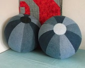 Upcycled Re Cycled Denim Fabric Beach Ball