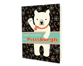 Polar Pittsburgh Folded Holiday Cards, Box of 10 - Pittsburgh Christmas Cards - Happy Holidays from Pittsburgh - OC1174-PIT-BX