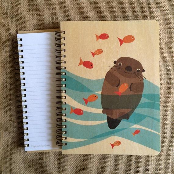 Otter School of Fish Birch Wood Journal - Otter Journal - Sketchbook - Notebook - J1727