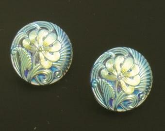 Czech Glass Flower Pattern Button 18mm Iridescent Light Alexandrite and AB