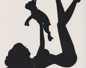 Boston Terrier and Pin Up Silhouette, Black Vinyl Decal