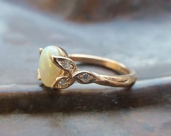 Opal engagement ring.  Opal and diamonds ring.  14k rose gold opal leaf ring.