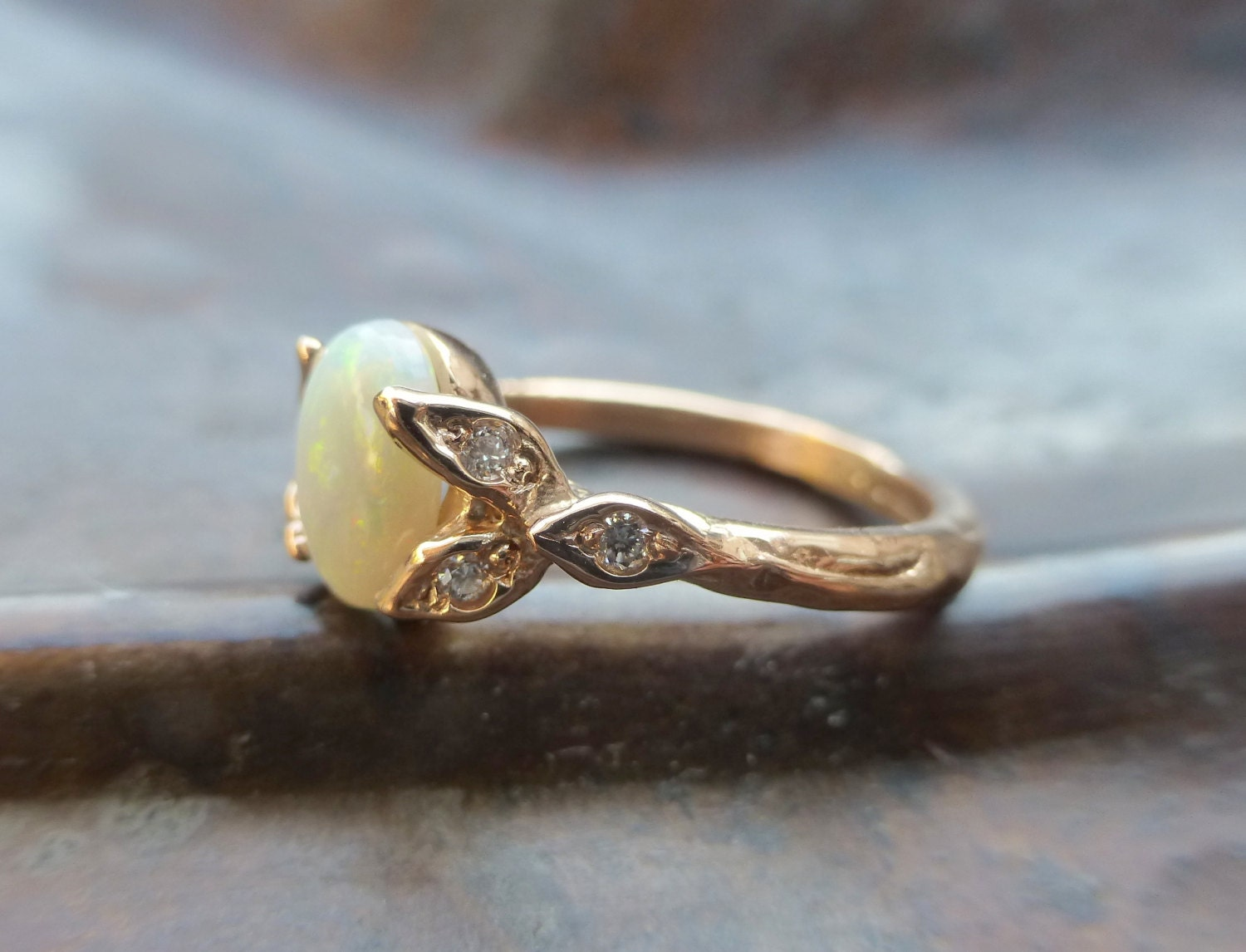 Opal Engagement Ring. Opal And Diamonds Ring. 14k Rose Gold