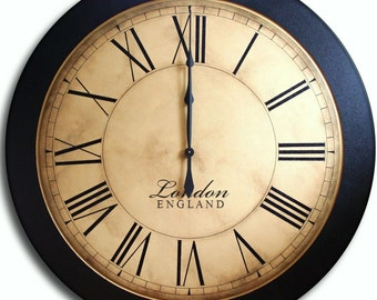 Large Wall Clock 24in Antique Style Wall Art WHITING Distressed Family Heirloom FREE INSCRIPTION