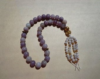 Tasbih Prayer Beads 33 Lilac Stone Gemstone Beads with Beaded Tassel