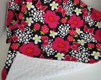Pink Floral Baby Blanket, Mod