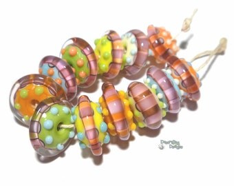 CANDY SAUCERS Lampwork Beads Handmade - Yellow Green Melon Blue Ivory Pink  - Set of 11