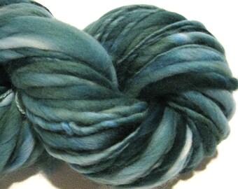 Handspun Yarn Almost Solid Spruce 30 yards green yarn blue yarn hand dyed merino wool knitting supplies  waldorf doll hair knitting supplies