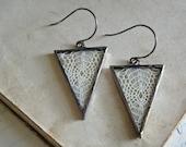 Vintage Lace Triangle Boho Earrings