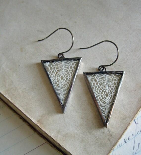 Vintage Lace Triangle Earrings Boho Jewelry