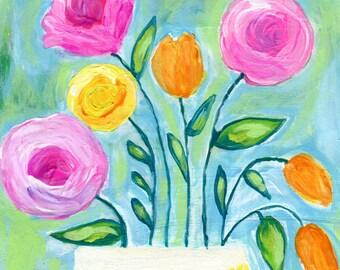 Flower Painting in Vase, Flowers Print, Pink, Orange, Yellow, Blue, Green, Art Print