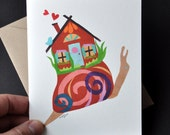 "Snail House - Small Art Card - 4.25x5.5"" Printed Card by Megan Jewel Designs"