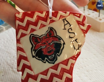 Arkansas Clay Ornament | Arkansas State Shape | Christmas Ornaments | Ornaments | Textured Clay | MADE TO ORDER