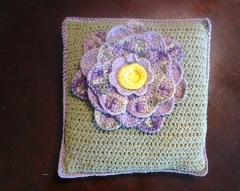 Crocheted Flower Pillow