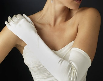 Bridal long opera gloves gauntlets matte nylon 1960 above elbow