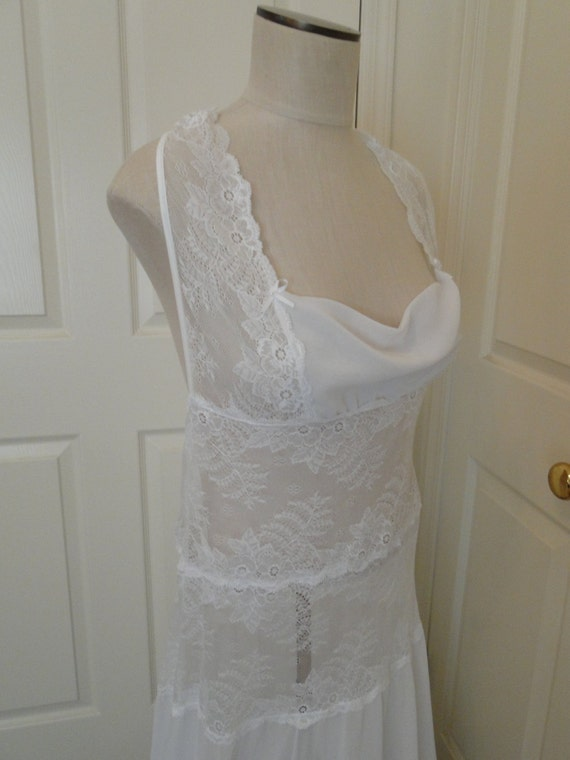 Wedding Goddess lingerie white long nitegown with lace and matching thong  vintage XL16-18  honeymoon sexy nitie