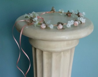 Peach blush Bridal party hair accessories Floral crown hairWreath rustic wedding accessories Flower girl halo couronne fleur baby photo prop