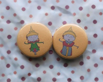 Thai couple - 2 x pinback button badges
