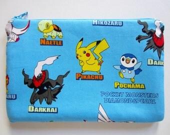 Pencil/Cosmetics Case - Nintendo Pokemon, Pocket Monsters, Diamond and Pearl Animie, Manga on sky blue fabric