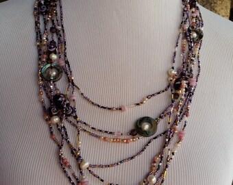Purple pulse layered necklace
