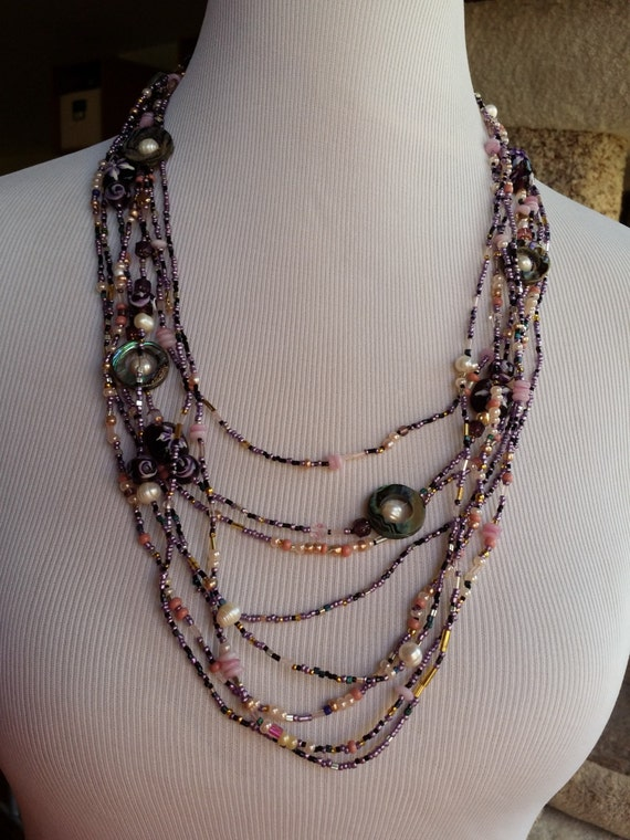 Purple pulse layered necklace