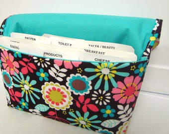 Coupon Organizer /Budget Organizer Holder-Attaches to Your Shopping Cart - Lazy Daisy Coco Floral