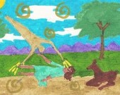The Shaman Offers Healing, shaman, shamanism, primal, ancient, healing, grass, trees, mountains, clouds