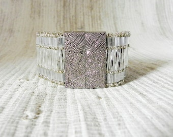 Silver Bead Woven Cuff Bracelet With Bar Magnet Clasp - Beaded Silver Bracelet -  Beaded Cuff Bracelet