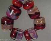 Boro beads, (qty 8) Lampwork Glass Bead Set, Scarlet and Mauve barrel beads   SRA Artisan beads ---  #198