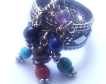 Sterling silver jewelry, Sterling Silver Ring , Filigree silver ring, Gemstones rings, Dangling Gemstones Ring, Ethnic jewelry
