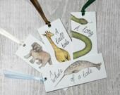 Animal bookmark - mini bookmarks - animal illustrations - dog - snake - giraffe - narwhal bookmark set